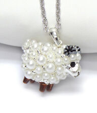 NEW PEARL LAMB SHEEP 3D PENDANT NECKLACE WHITE GOLD PLATED