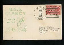 US Naval Ship Cover USS Quincy CA-71 Pre WWII 3/17/1937 St. Patrick's Boston MA