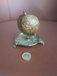 Unusual Novelty Antique Miniature Globe Desk Tidy Brass Ornate Base