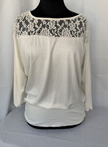 New York Company Top Womens NWT Cream White Lacy Stretchy Pull Over Comfort M