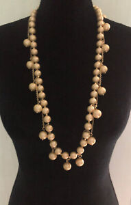"""J.Crew 36"""" Gold Pearl Necklace"""