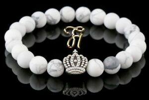 Howlite White Matt 0 5/16in Bracelet Pearl Bracelet Silver Coated Crown
