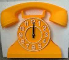 TIK TOCK Large Yellow Telephone Wall Clock Includes Moving Phone