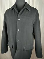 J Crew University Jacket Pea Coat Wool Black Mens Size L Thinsulate Lining WARM