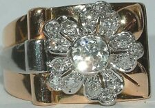 18 Carat  yellow white Gold wide Flower cluster Diamond Ring CERT 0.65 Solitaire