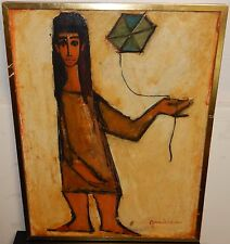 "GIUSEPPE GAMBINO ""PORTRAIT OF A GIRL AND KITE"" ORIGINAL OIL CANVAS PAINTING 1961"