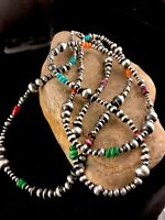 """Native American Navajo Pearls Sterling Silver Bead Necklace 51"""" Long"""
