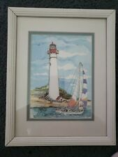 "Cape May Light Art Print by Donna Elias 1994 12""x10"" Signed American Lighthouse"