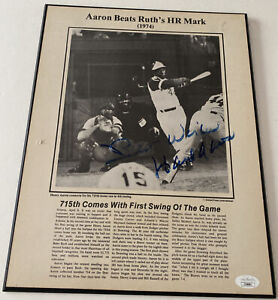 Hank Aaron Signed 715th Home Run Past Press Productions Board 11x14 JSA