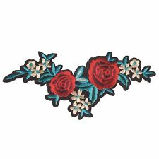 Red Beige Rose XL (Iron on) Embroidery Applique Patch Sew Iron Badge
