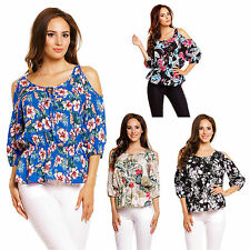 Tie Neck Floral Regular Size Tops & Shirts for Women