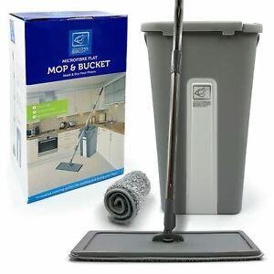 Flat Mop Bucket Set Squeeze Microfiber Floor Cleaner Tiles Home Kitchen Cleaning