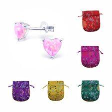 Childrens Girls 925 Sterling Silver Opal Heart Stud Earrings - Pouch