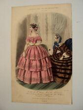 GRAVURE EN COULEUR 1854 JOURNAL DES JEUNES PERSONNES MODES TOILETTES