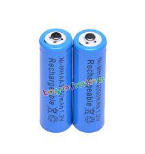 2x AA 3000mAh pile 1,2 V Ni-MH rechargeable Bleu Couleur cellule MP3 Jouets RC