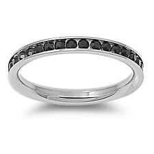 Stackable Stainless Steel Cubic Zirconia Eternity Promise Ring NEW
