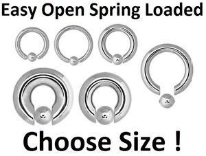 Captive Ring - Easy Snap In Spring Loaded  - Steel - Choose: Gauge & Diameter