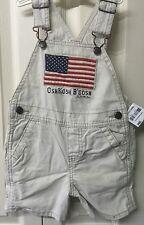 Oshkosh Baby Boys Overalls Shorts Beige Size 18 Months Khaki Flag Design