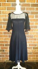 Vintage 70s LBD Black Evening DRESS Size 8 10