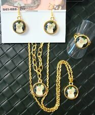 White CAT Flower Ear glass jewelry set necklace bracelet earrings ring CTE004gs