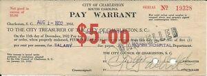 Pay Warrant Salary Charleston Roper Hospital South Carolina 1932