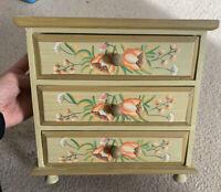 Vintage Wooden Handpainted Jewellery Storage Drawers Floral Trinket