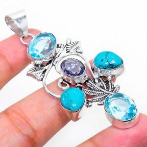 "Santa Rosa Turquoise, Amethyst Gemstone Handmade Gift Jewelry Pendant 2.76"" f934"
