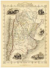 Old Vintage Map of Chile Argentina richly illustrated Tallis 1851