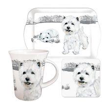 Westie Tea Time Gift Set.  West Highland Terrier Mug, Biscuit Tray & Coaster.