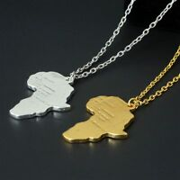 Fashion Africa Map Gold Plated Pendant Necklace Couple Lover Chain Jewelry Gift