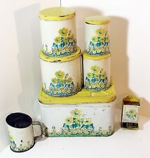 Kitchen Canister Counter Set Yellow Flowers Nesting Cans, Sifter, Match Holder +
