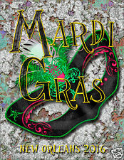 2014 Mardi Gras Poster// New Orleans//11x14 inches//Masks//Beads//Bourbon Street