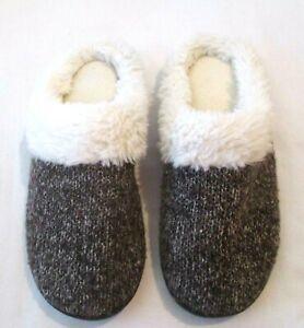 Isotoner Memory Foam Faux Fur Non-Slip Knit Black/Gray Mule Slippers, Size 8.5-9
