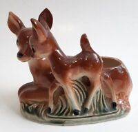 Vintage Ceramic Disney Bambi Mom Styled Big Eyes Deer Drop Glaze Planter Bisque