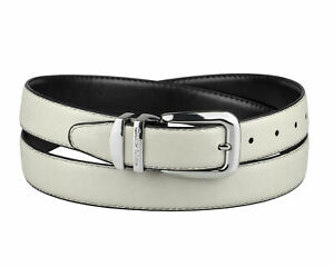 CONCITOR Reversible Belt OFF WHITE & Black Bonded Leather Silver-Tone Buckle 30