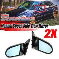 For 1996-2000 Honda Civic EK Sedan Carbon Fiber Look Side Mirrors Manual  nuf