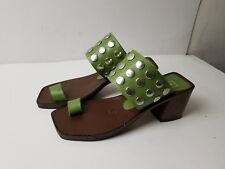 Kelian Studio Greem Leather Block Heel Sandal Slide Shoe