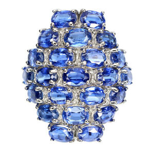 Unheated Clean Oval Top Cornflower Blue Kyanite 6x4 Mm 925 Silver Ring Size 8.5