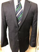 jos a bank travelers collection suit 40 short black striped wool 2 pc