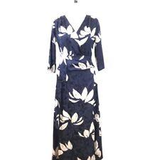 Warm NY Wrap Dress 0 Blue Ivory Floral Print V Neck 100% Silk Midi Women's