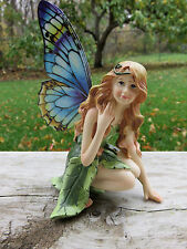 FAIRY WITH LEAF DRESS BUTTERFLY METAL WINGS RESIN  FAERIE NEW Figurine  5.5 IN.