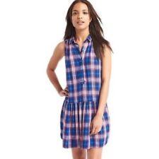 NWT Gap Plaid drop waist dress, Blue Plaid SIZE XL      #241377 v1026