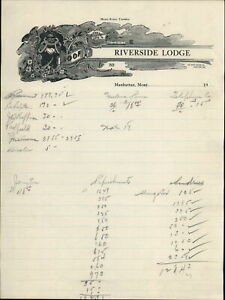 Manhattan Montana Ephemera Riverside Lodge List Of Payments Made For Upkeep Of L