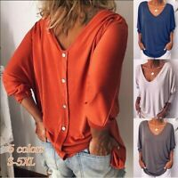 Women's Casual Loose Solid Seven-point Sleeve V-Neck Shirt Tank Top T-Shirt