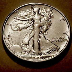 1919-D Walking Liberty Half  * Choice AU *