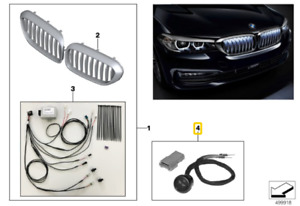 Genuine BMW 5' Series G30 Button Front Grille Iconic Glow 63172468335
