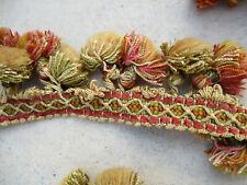 Frange à pompons pour tapisserie vintage XXè 1,6 m x 5,5 cm