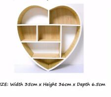 7 Compartment Craft Display Wall Cube Heart Shape Display Unit Natural Wood New