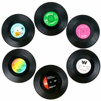 TRIXES Pack of 6 Assorted Retro Vinyl Hot & Cold Drink Coasters Coffee Table Per