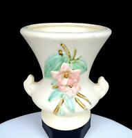 "McCOY POTTERY USA BLOSSOM TIME RAISED PINK DOGWOOD FLOWER 6 5/8"" VASE 1940s"